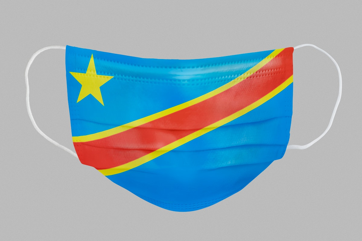 Congolese flag pattern on a face mask mockup