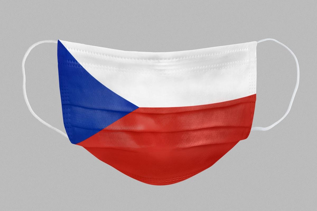 Czech flag pattern on a face mask mockup