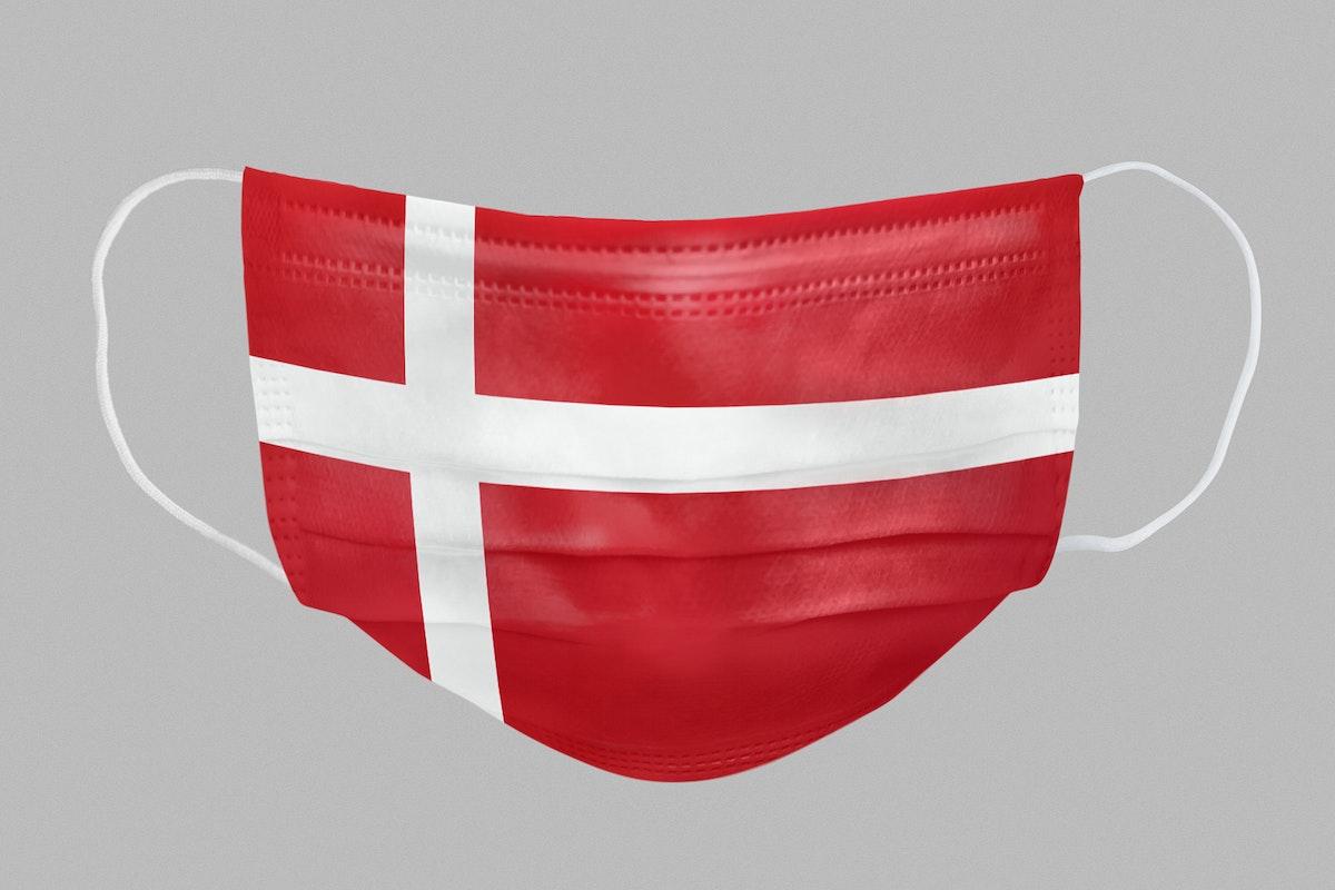 Danish flag pattern on a face mask mockup