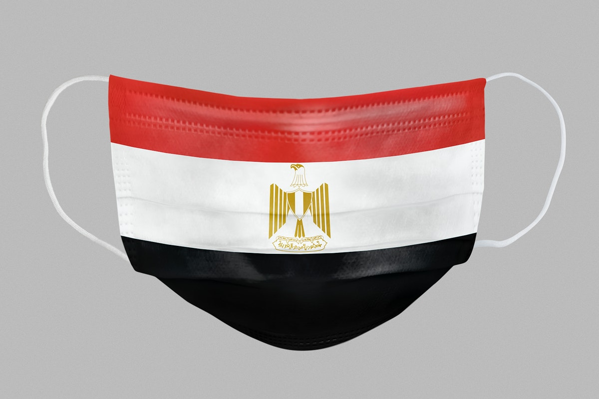 Egyptian flag pattern on a face mask mockup