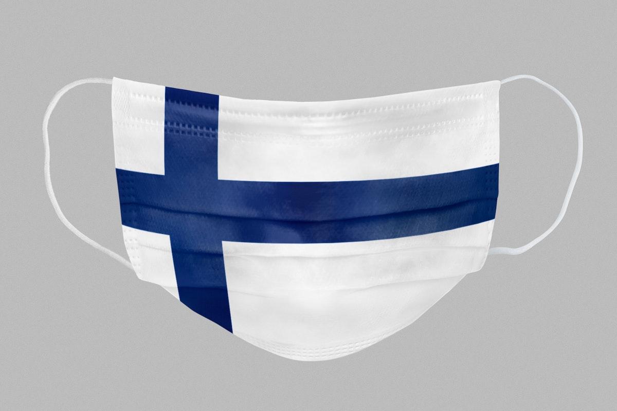 Finnish flag pattern on a face mask mockup