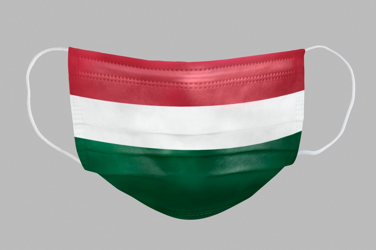 Hungarian flag pattern on a face mask mockup