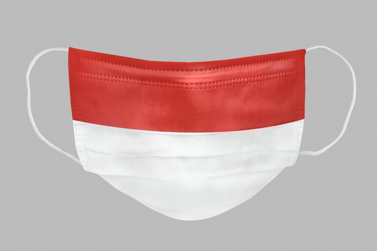 Indonesian flag pattern on a face mask mockup