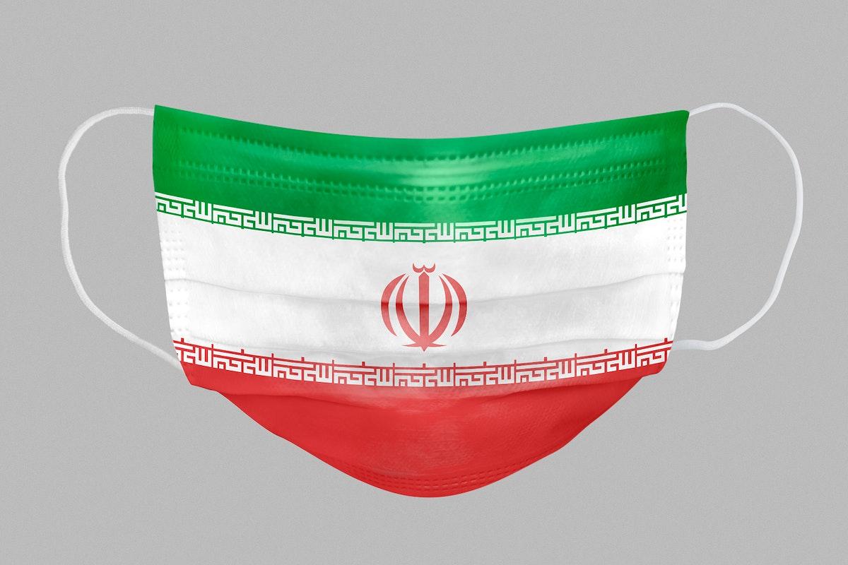Iranian flag pattern on a face mask mockup