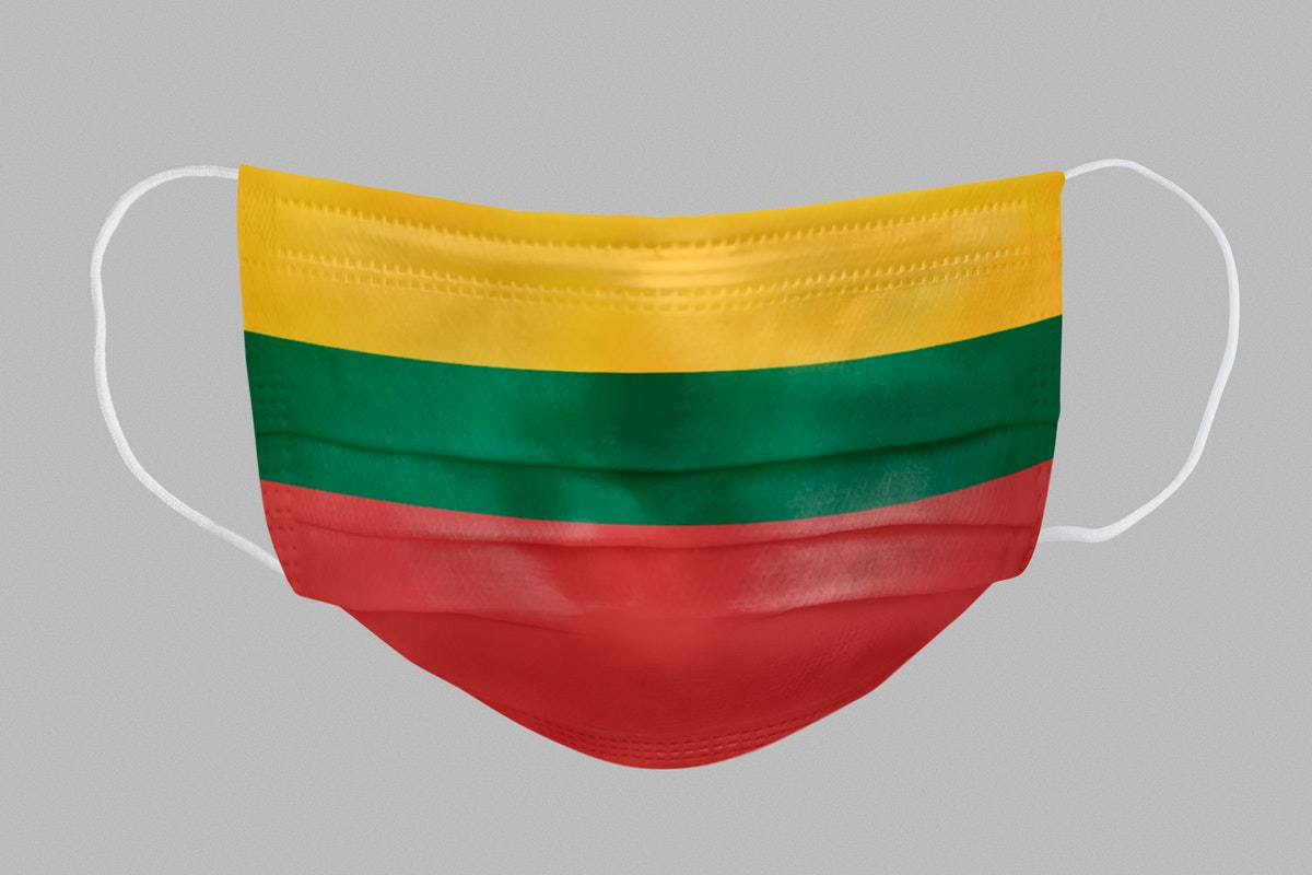 Lithuanian flag pattern on a face mask mockup