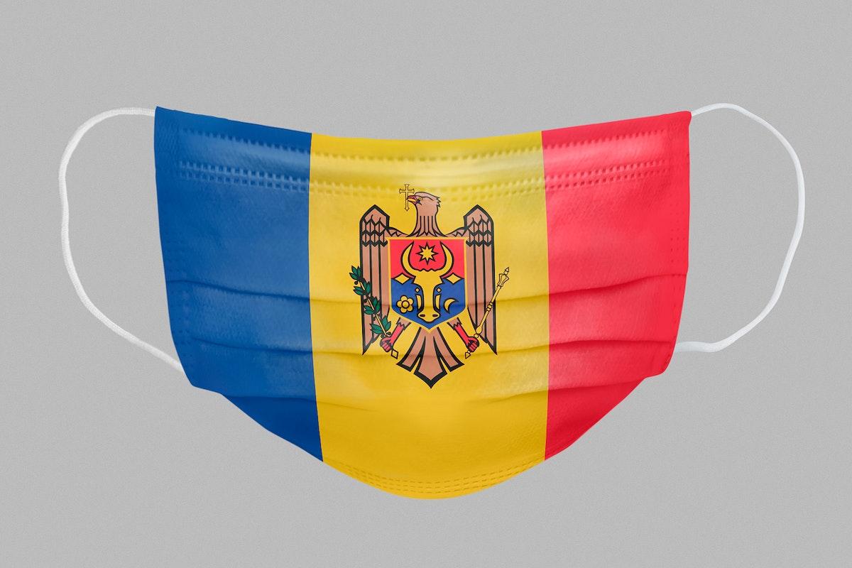 Moldovan flag pattern on a face mask mockup