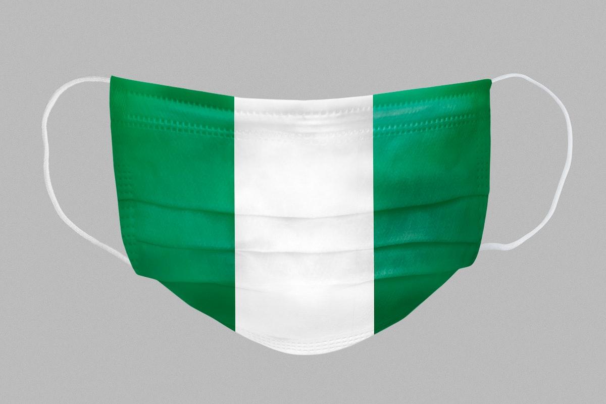 Nigerian flag pattern on a face mask mockup