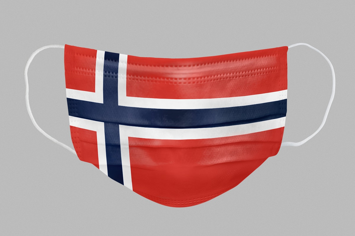 Norwegian flag pattern on a face mask mockup