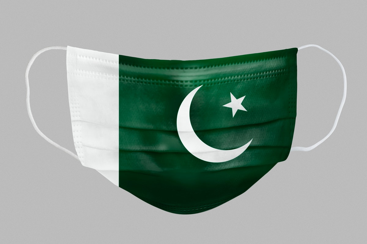 Pakistanian flag pattern on a face mask mockup