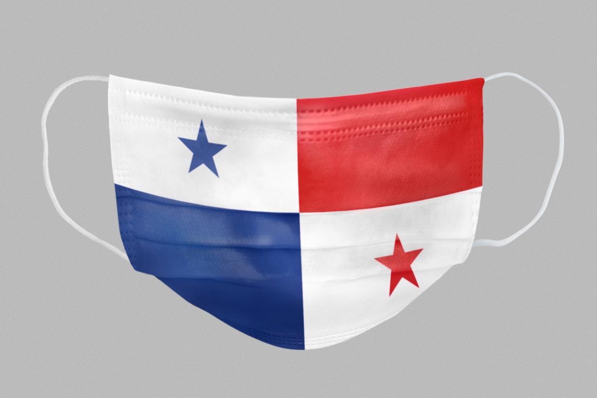 Panamanian flag pattern on a face mask mockup