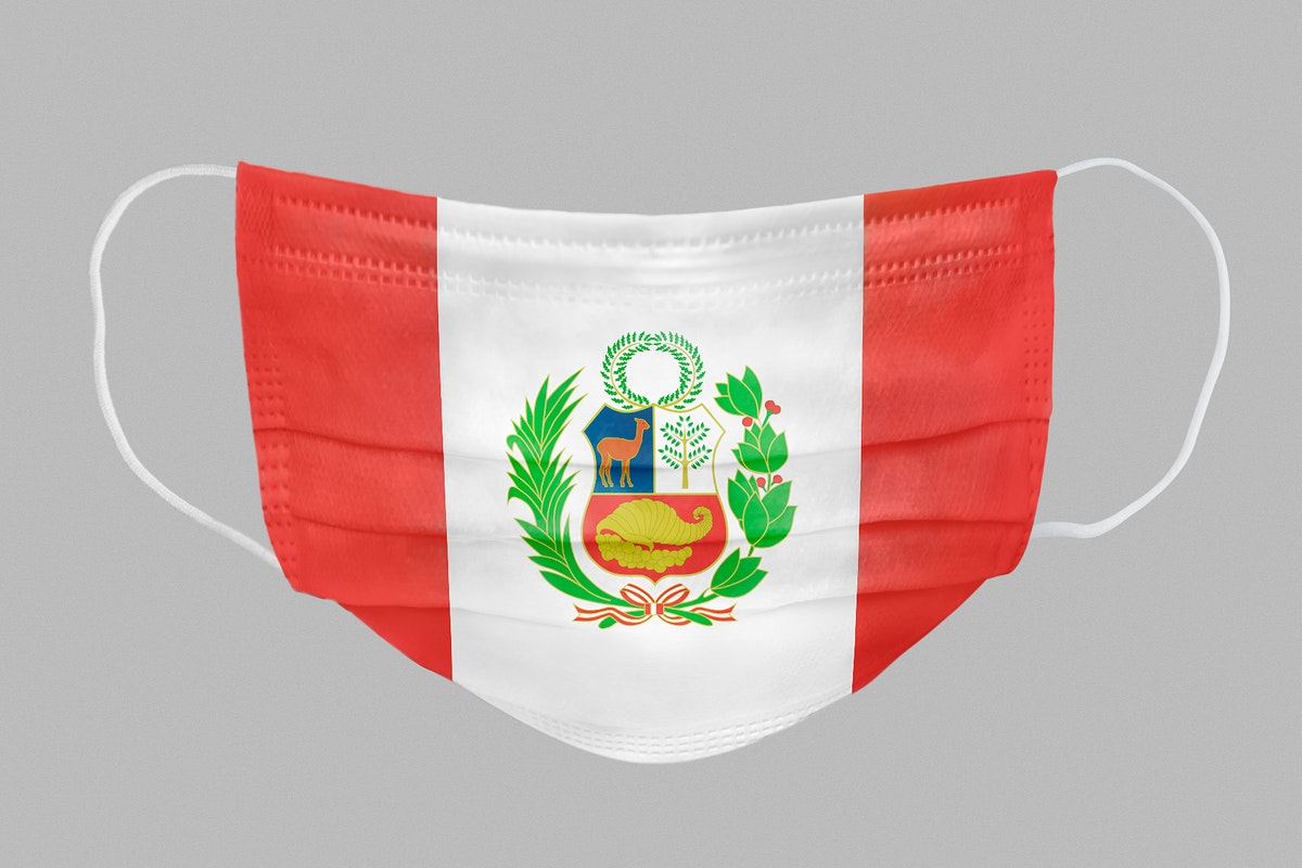 Peruvians flag pattern on a face mask mockup