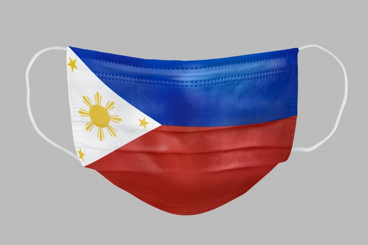 Filipino flag pattern on a face mask mockup