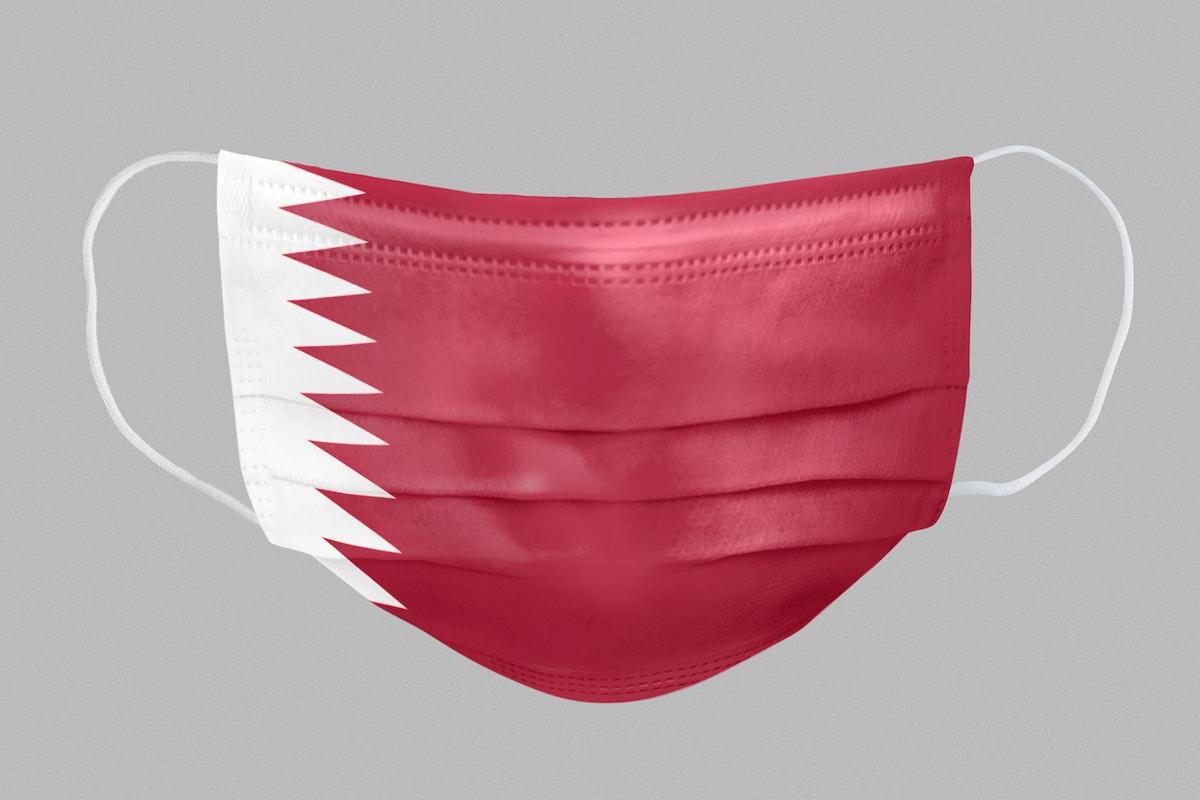 Qatari flag pattern on a face mask mockup