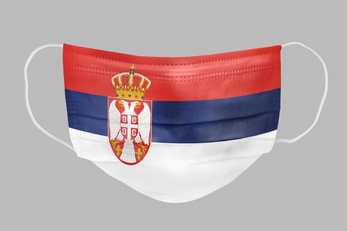 Serbian flag pattern on a face mask mockup