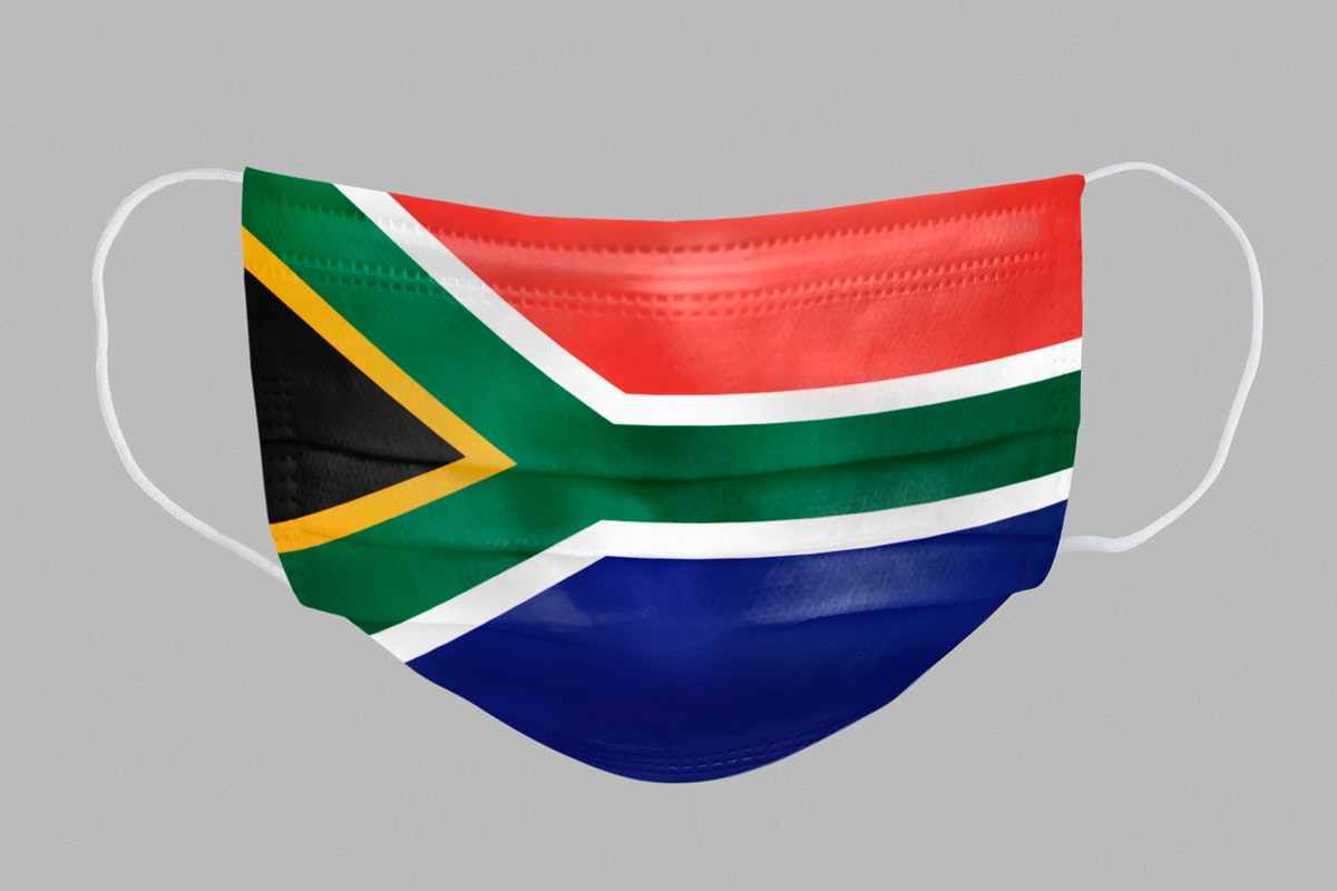South African flag pattern on a face mask mockup