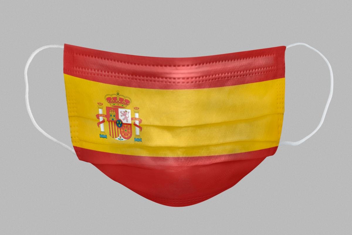 Spanish flag pattern on a face mask mockup