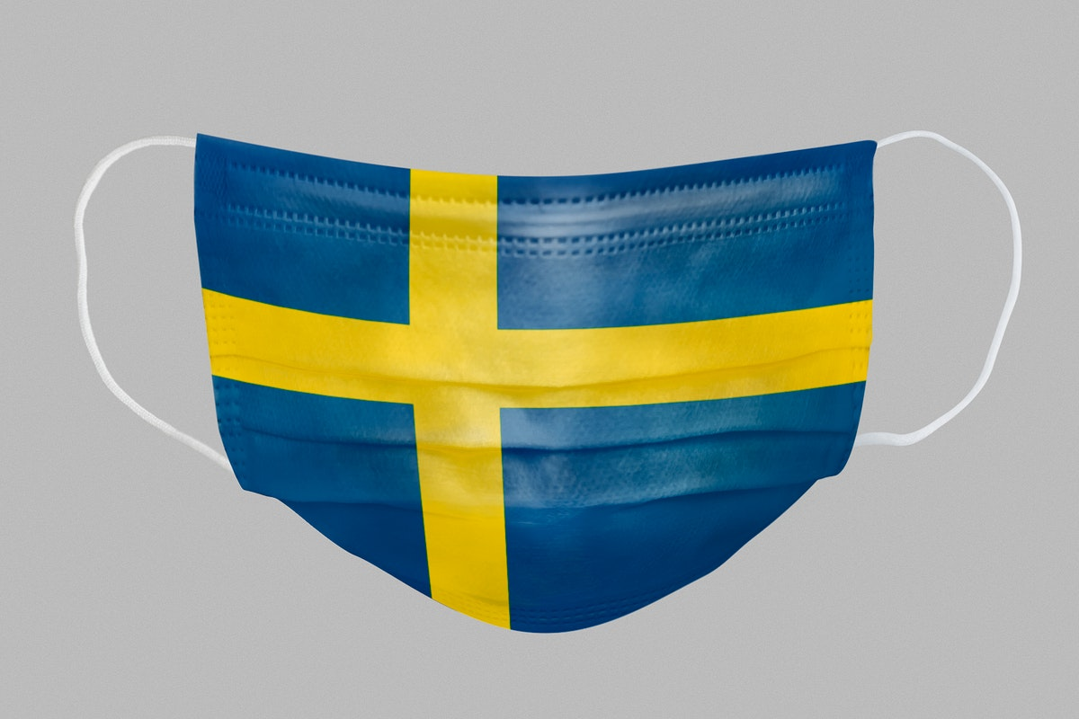 Swedish flag pattern on a face mask mockup