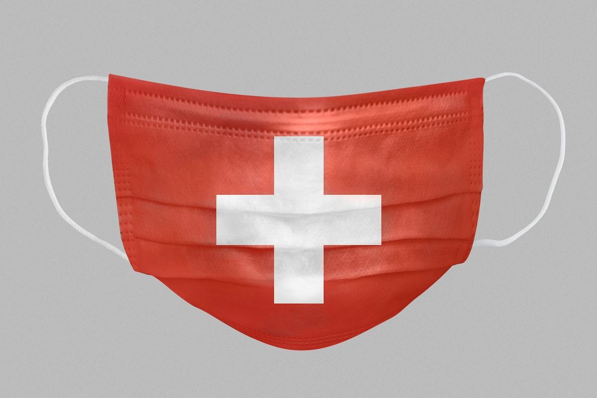 Swiss flag pattern on a face mask mockup