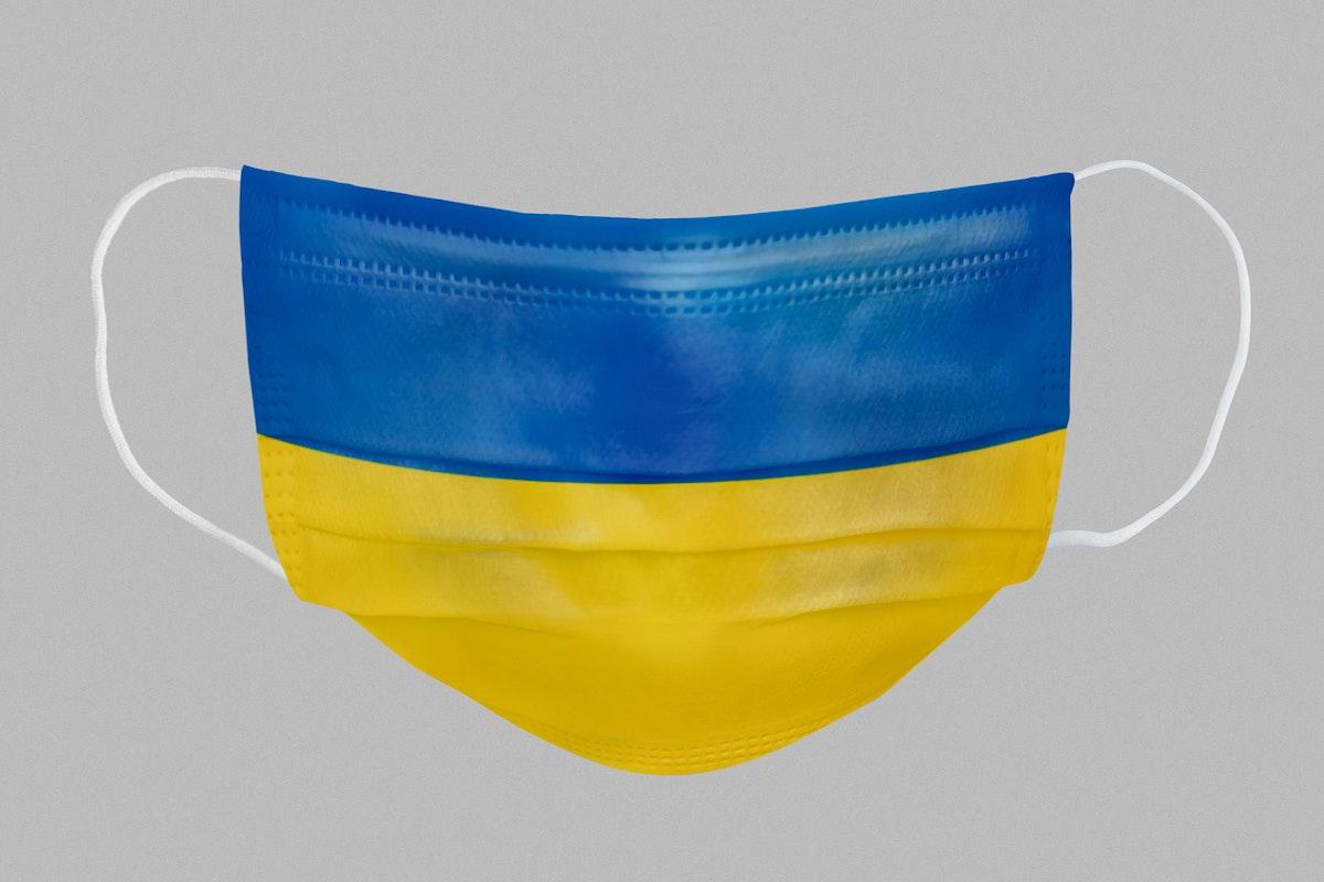 Ukrainian flag pattern on a face mask mockup