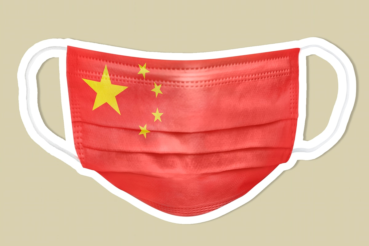 Chinese flag pattern on a face mask sticker with a white border