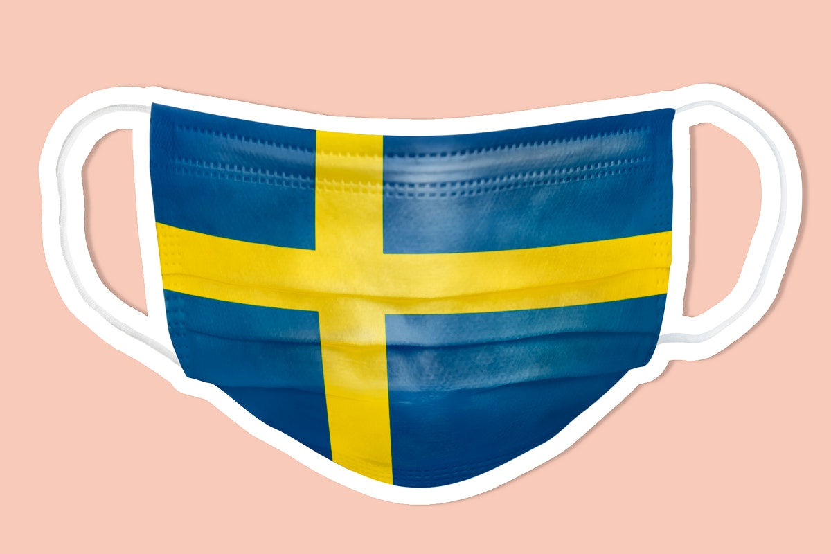 Swedish flag pattern on a face mask sticker with a white border