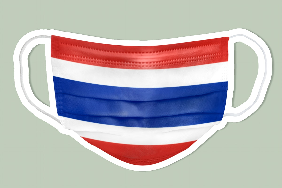 Thai flag pattern on a face mask sticker with a white border