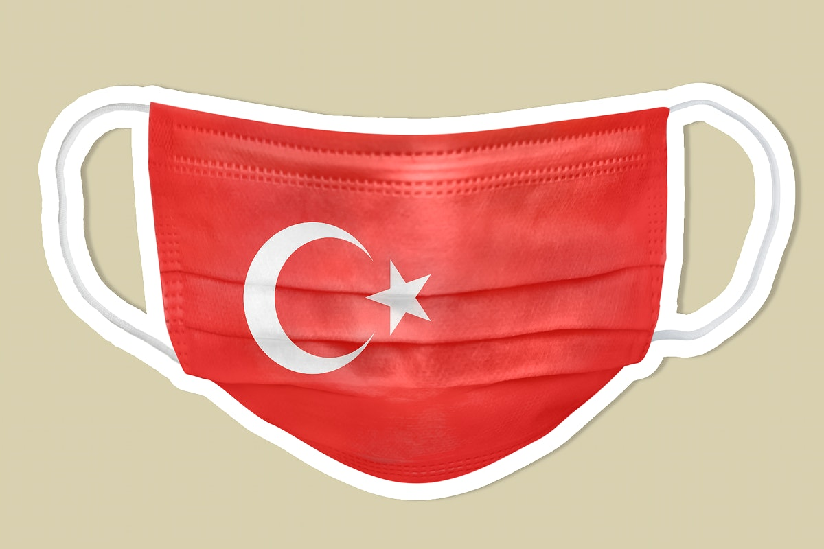 Turkish flag pattern on a face mask sticker with a white border