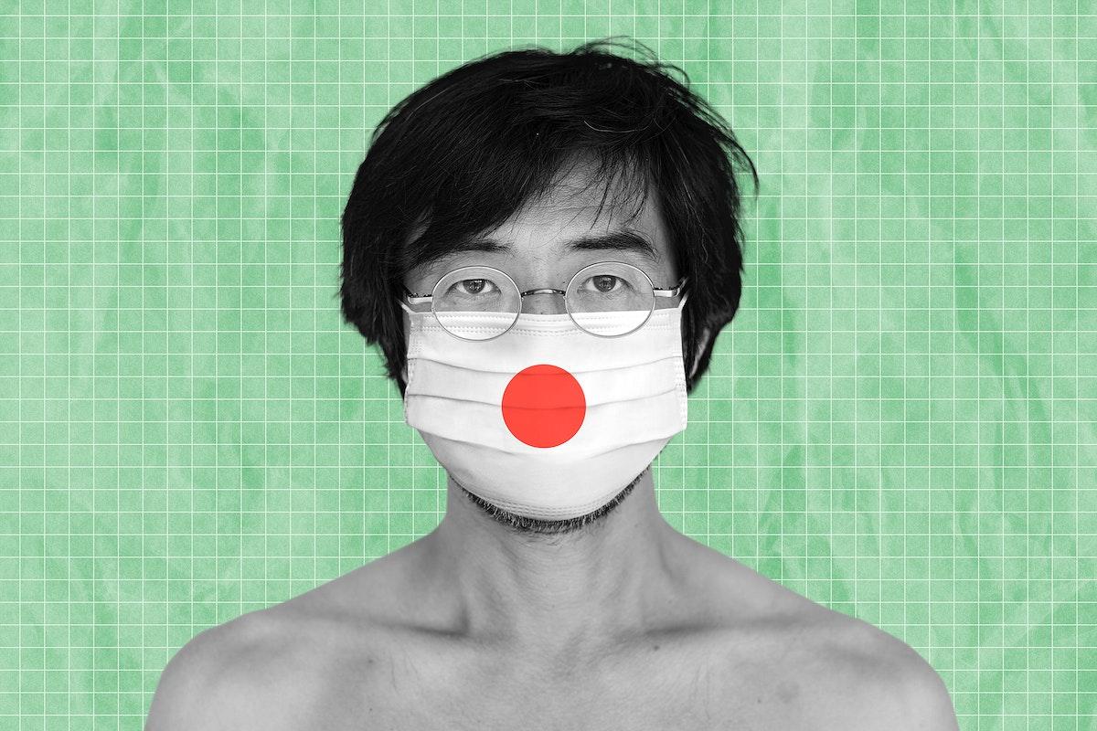 Japanese man wearing a face mask during coronavirus pandemic mockup