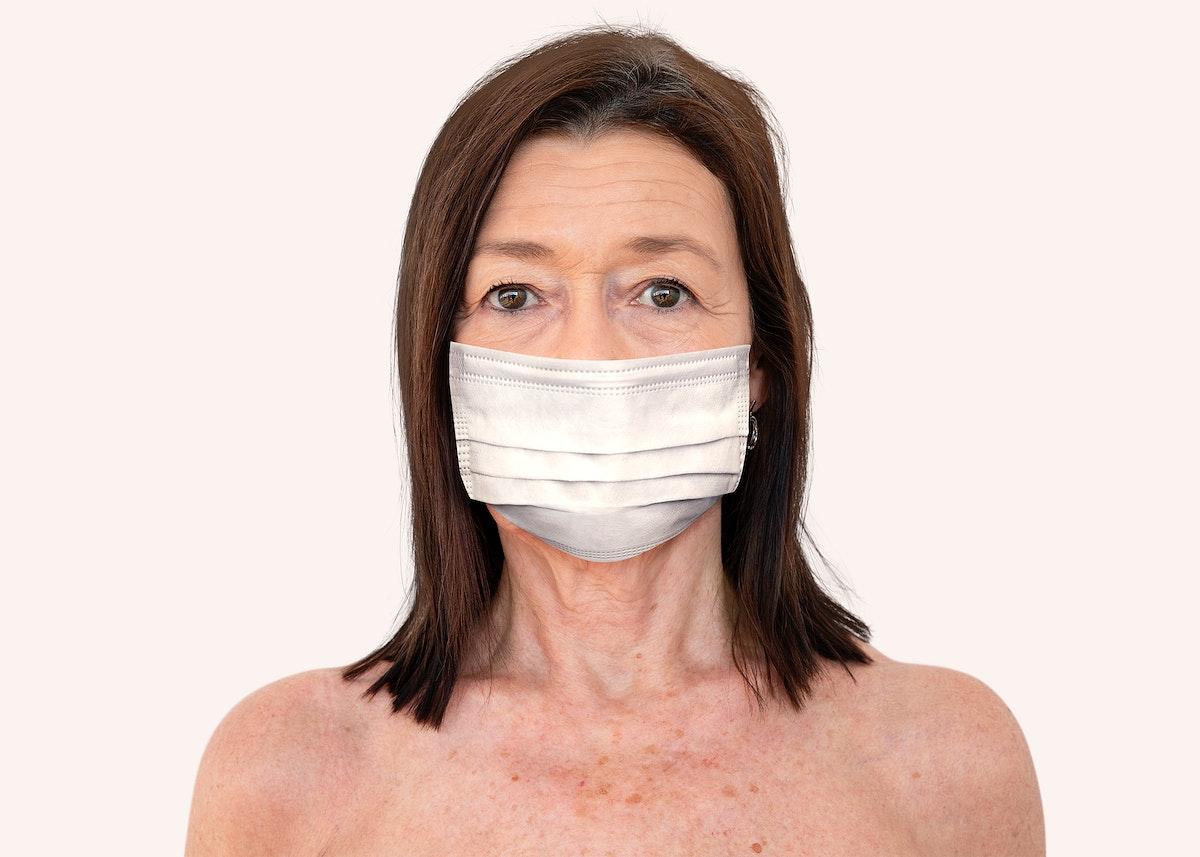 Old lady wearing a face mask during coronavirus pandemic mockup
