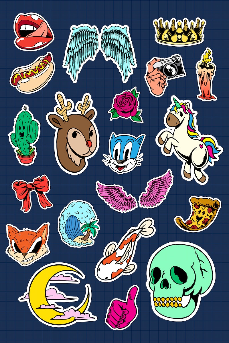 Colorful cute sticker collection  vector