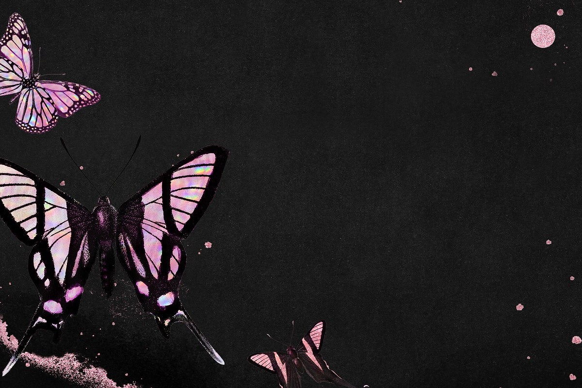 Pink Holographic Butterfly On A Black Background Royalty Free Illustration 2365929