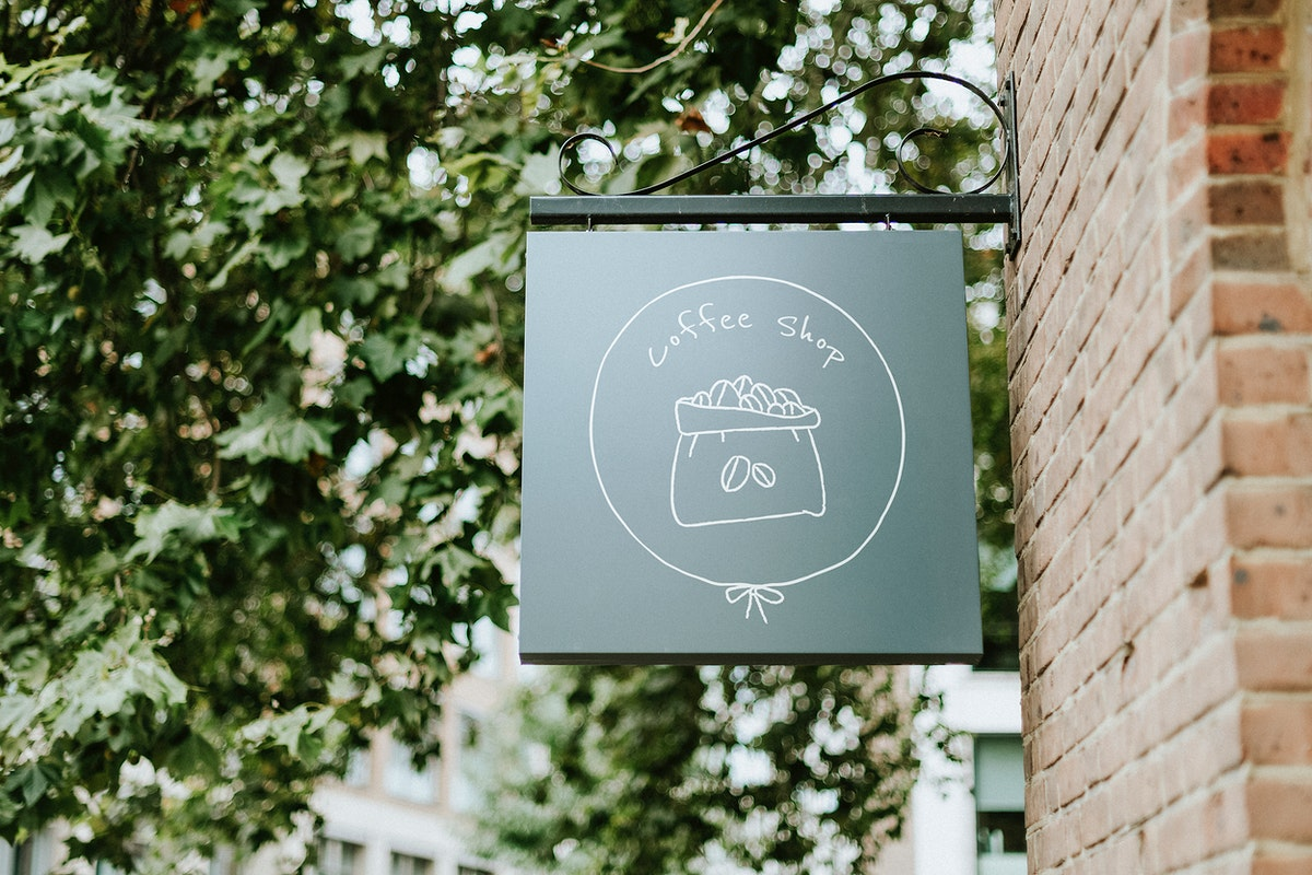 Dark green coffee shop sign mockup