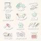 Cute kitchen utensils doodle sticker set vector