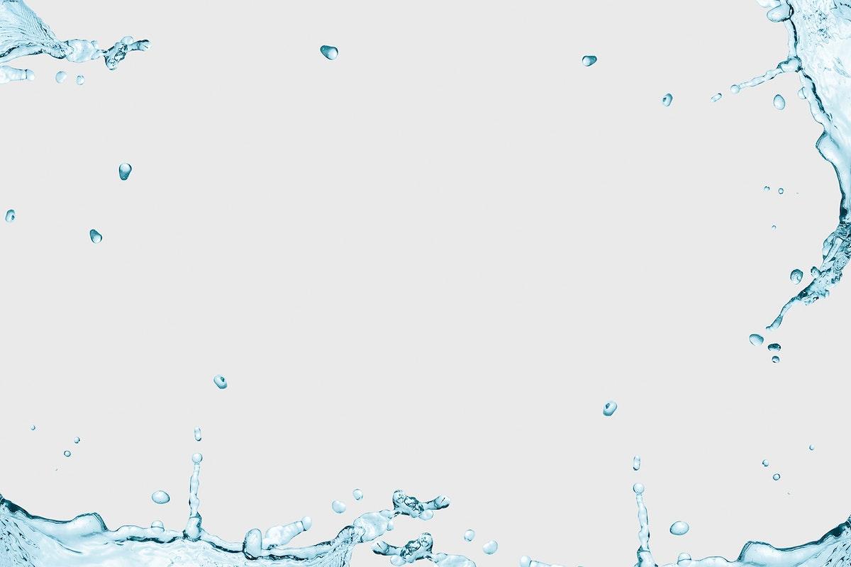 Water splashing frame on a gray background design resource