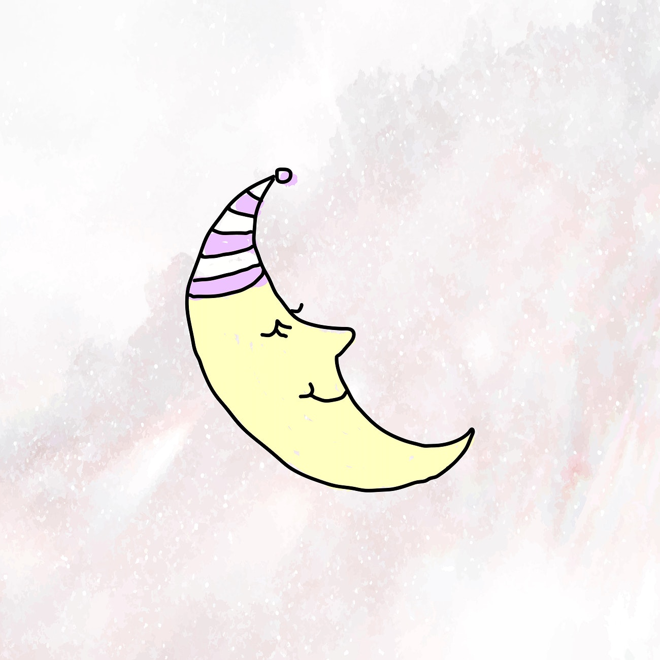 hand drawn sleeping crescent moon on a marble background vector free vector 2429260 rawpixel
