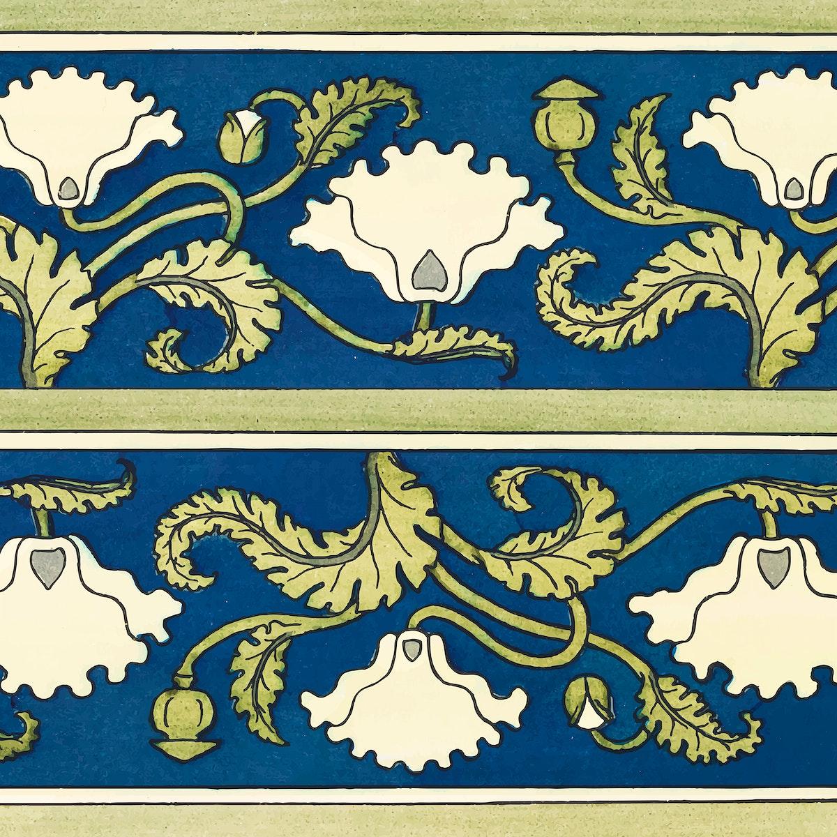 Art nouveau poppy flower pattern background vector