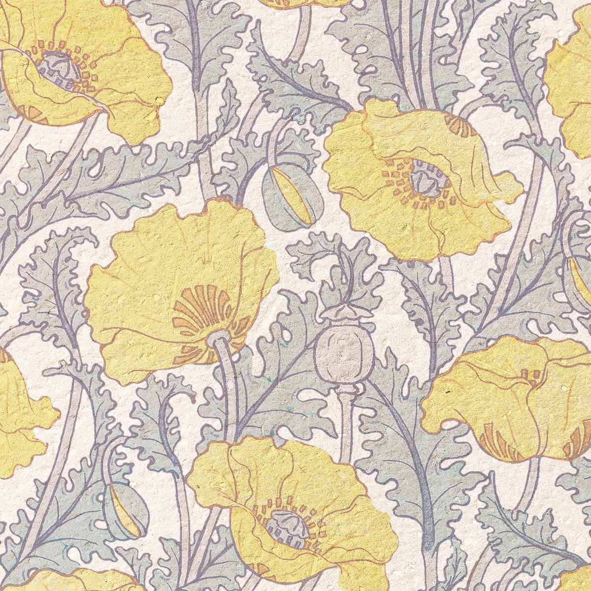 Art nouveau poppy flower pattern background