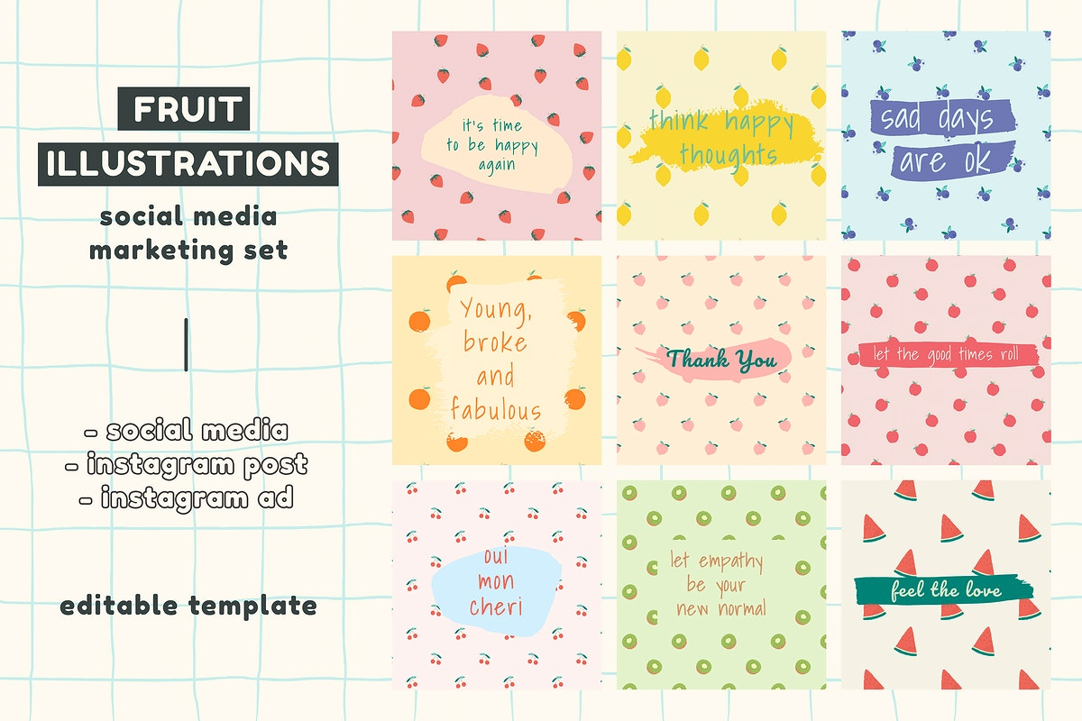 Vector fruit pattern quote social media post template set