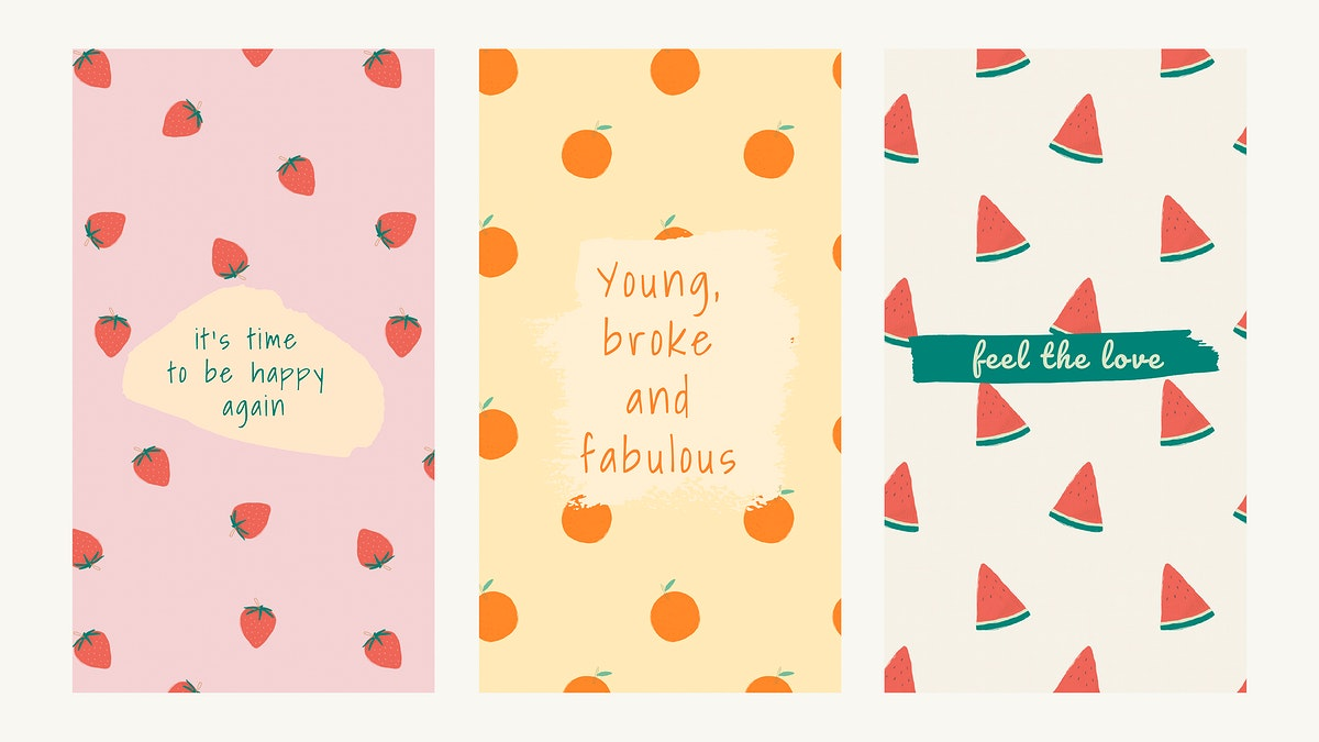 Vector fruit pattern quote social media story template set