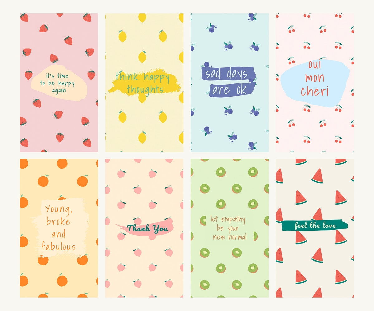 Vector fruit pattern quote social media ads template set
