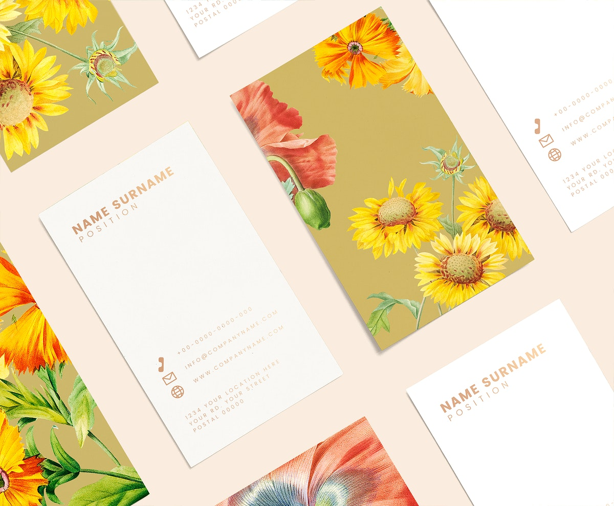 Floral business card template set mockup