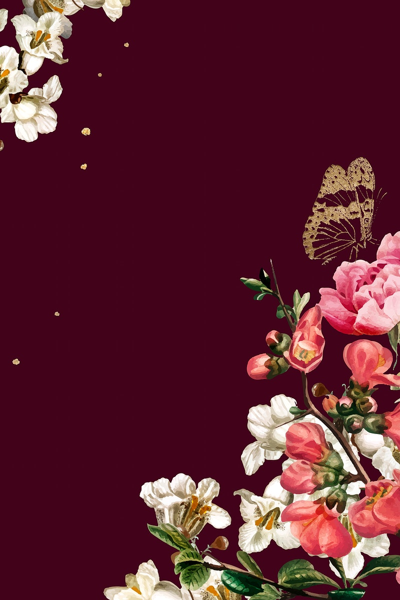 Elegant valentine's flowers border vector watercolor on red background