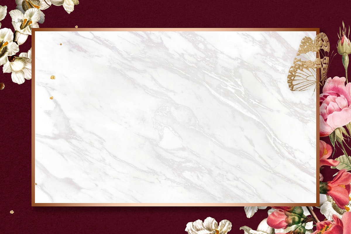 Elegant valentine's flowers psd frame watercolor on red marble background