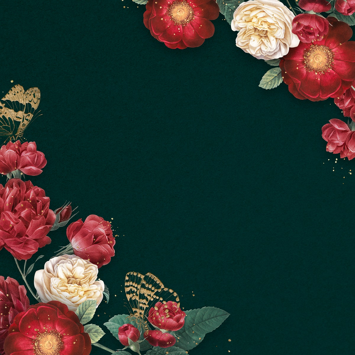 Luxury red roses border watercolor green background