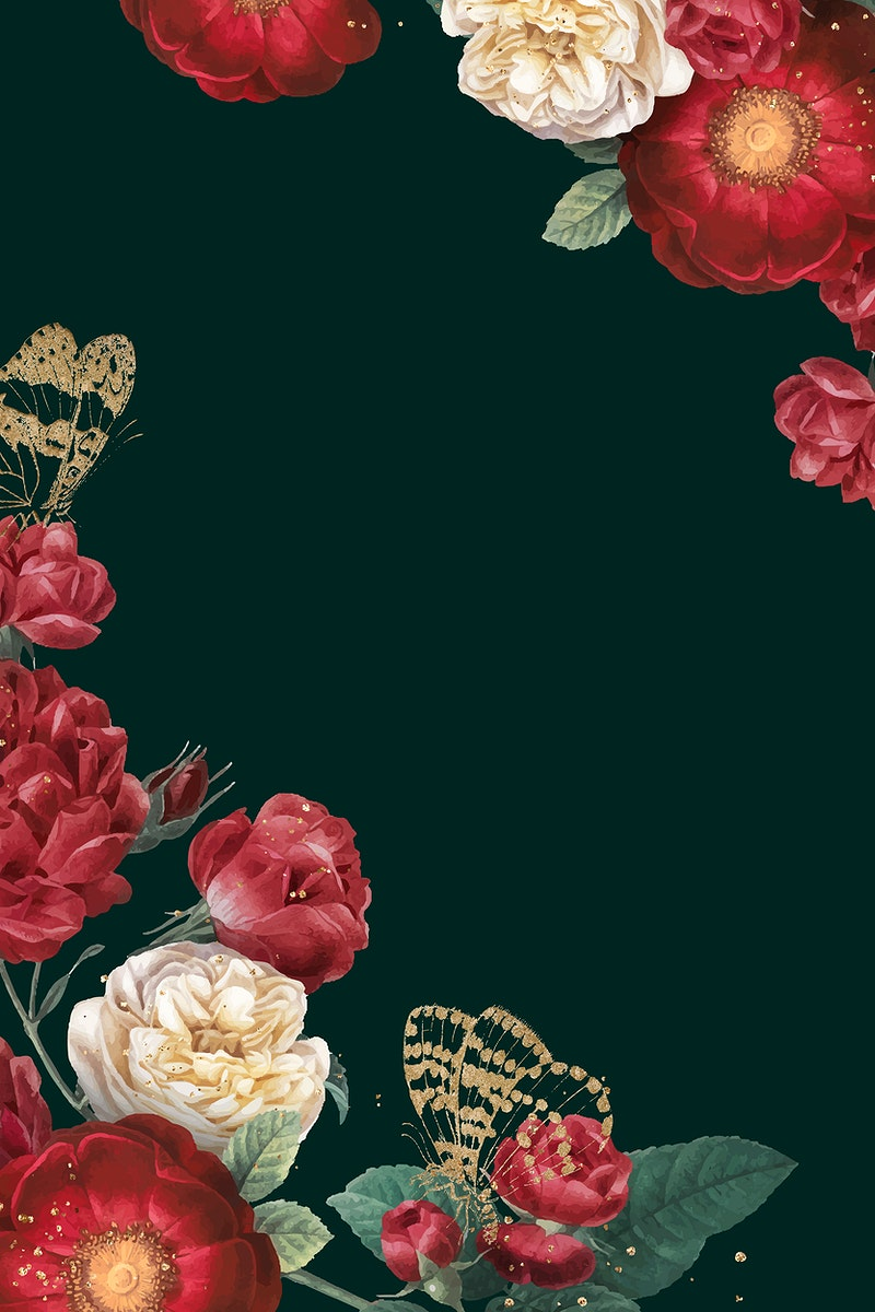 Spring background vector with red flower border