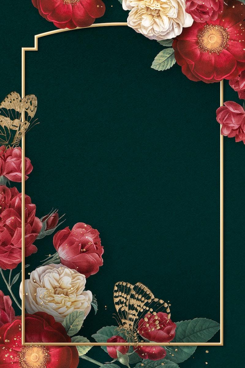 Elegant valentine's flowers frame watercolor on green background