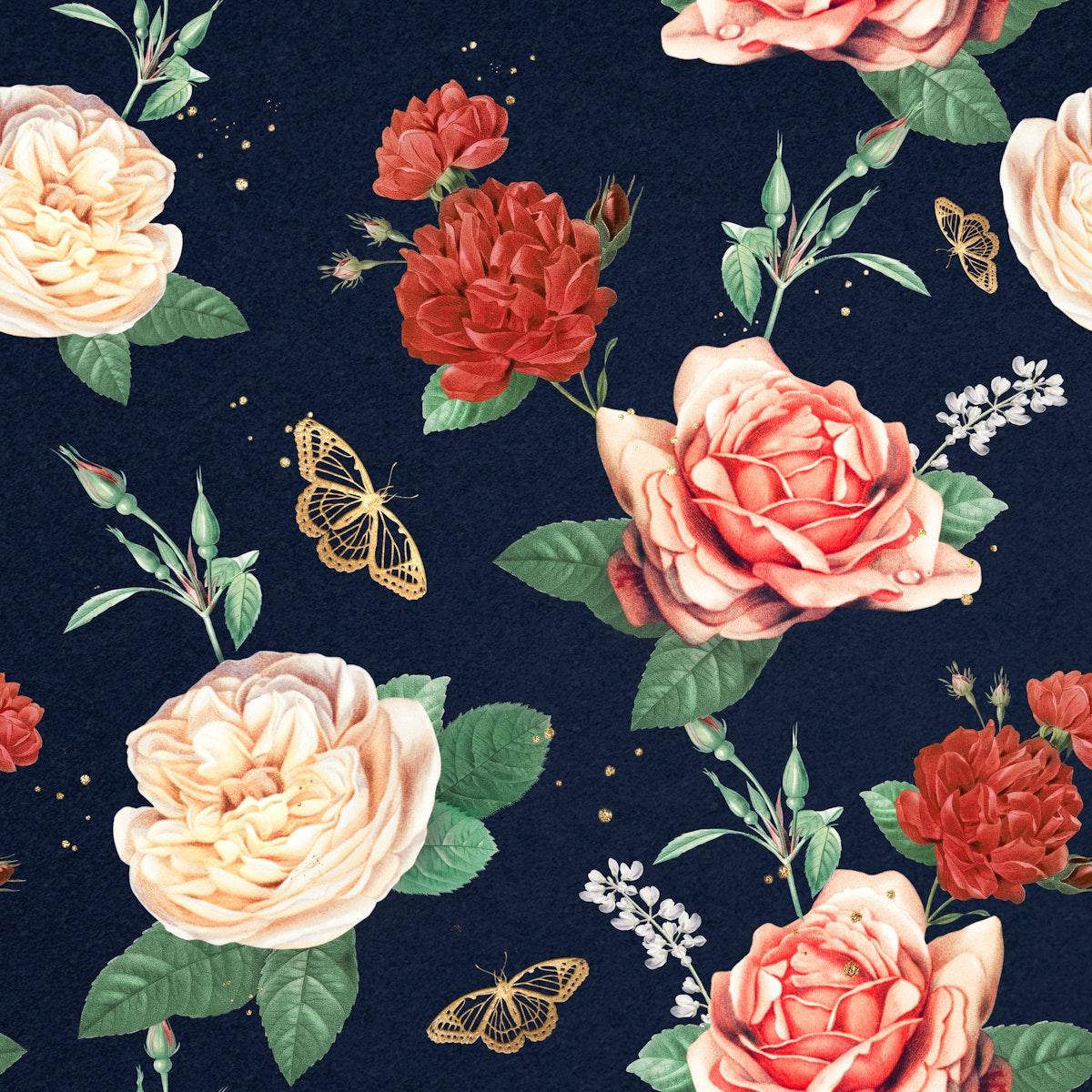 Elegant roses Valentines pattern background