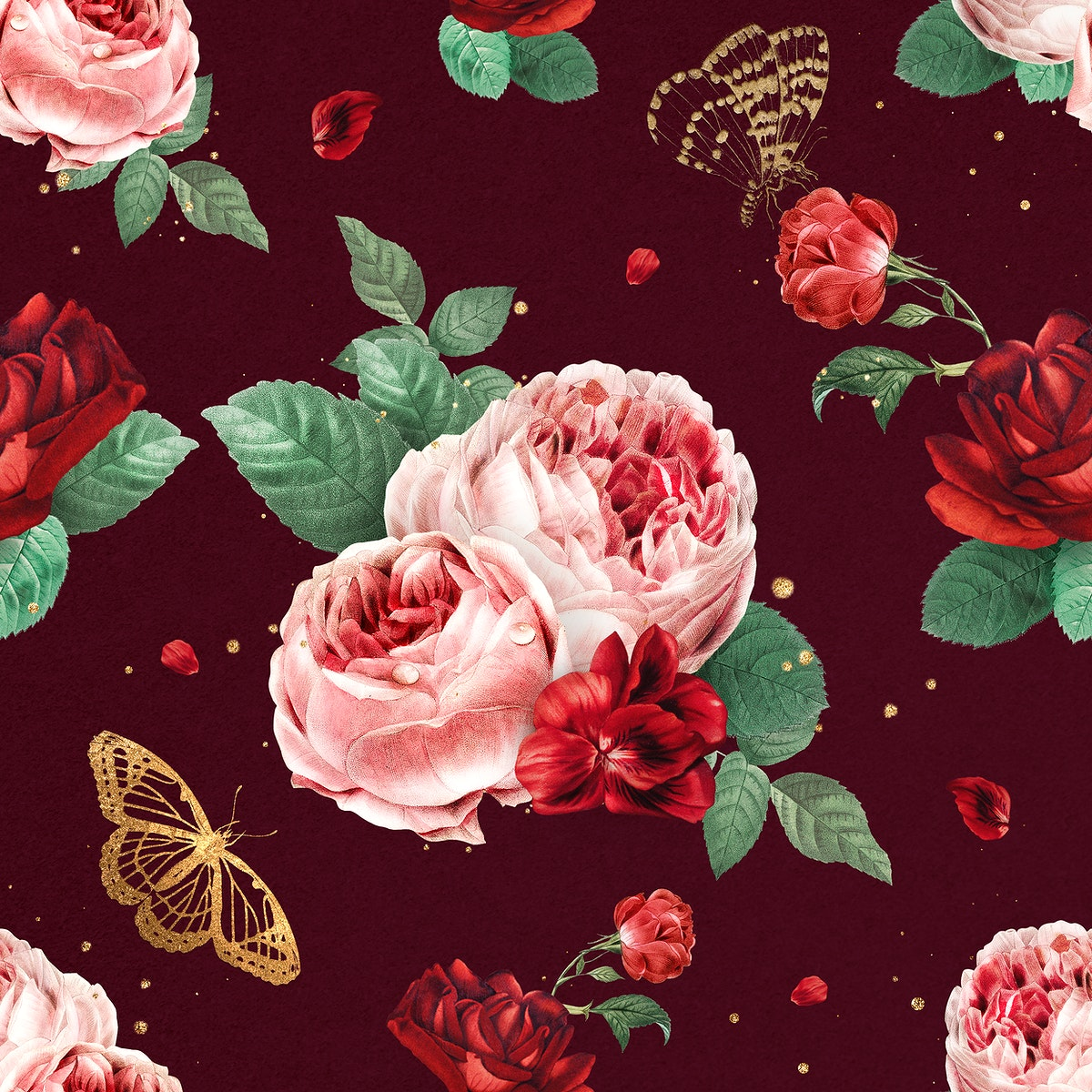 Red peony flowers watercolor pattern vintage