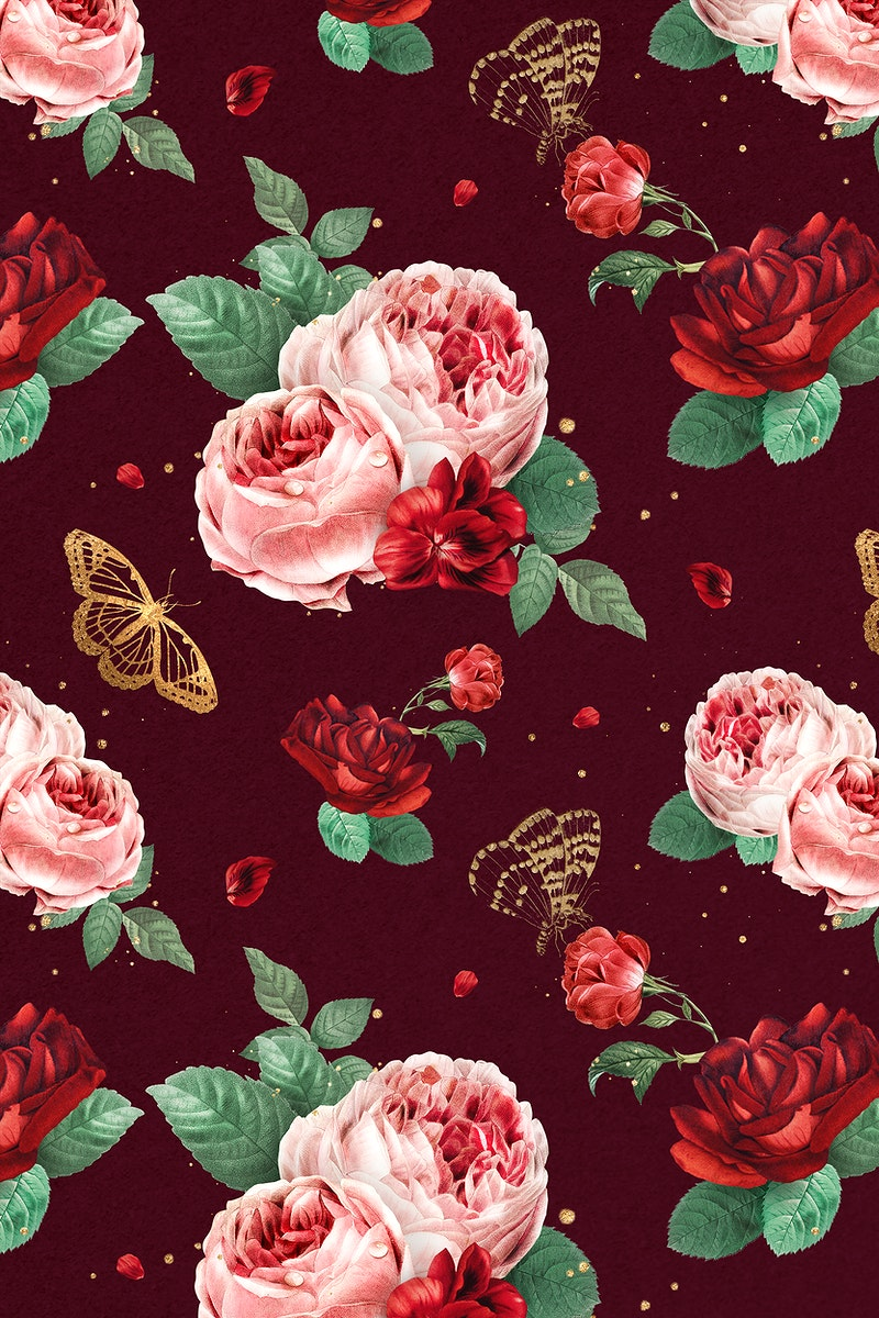 Red peony flowers psd watercolor pattern