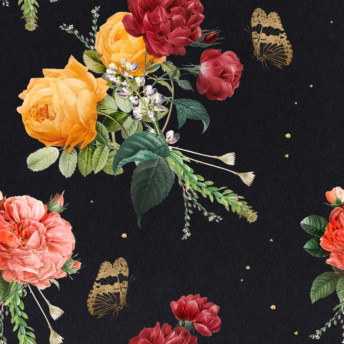 Vintage colorful roses pattern background